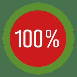 Etiqueta de progreso del círculo del 100 por ciento