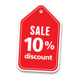 10 percent discount sale tag