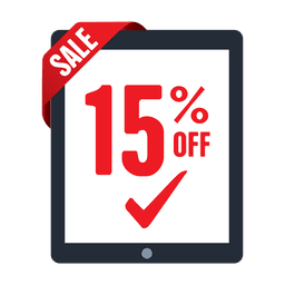 15 percent tab sale label
