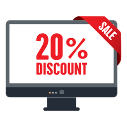 Etiqueta de venda de desconto de 20 por cento na tela da TV