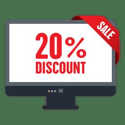 Etiqueta de venta con descuento del 20 por ciento en la pantalla de televisión