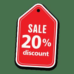 20 por ciento etiqueta de venta con descuento