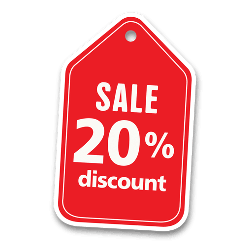 20% descuento etiqueta de venta