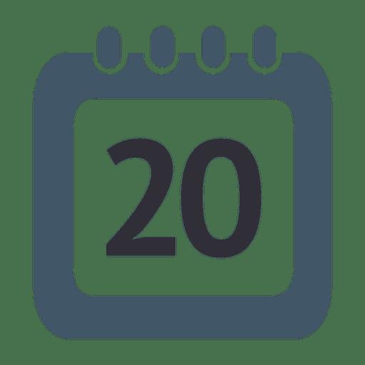 Icono de calendario de 20 días