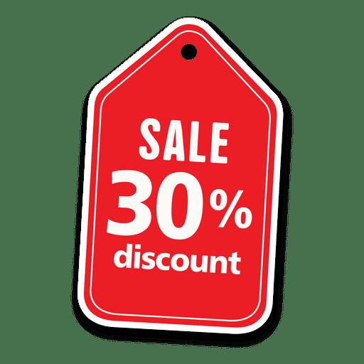 30 por ciento de descuento etiqueta de venta