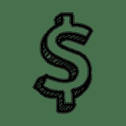 Mão 3d desenhada cifrão