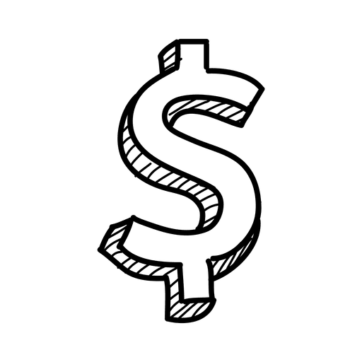 3d hand drawn dollar sign transparent png amp svg vector