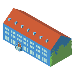 3d isometric school building