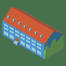 Edifício escolar isométrico 3D