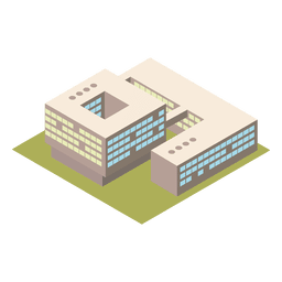 Edifício isométrico da universidade 3d