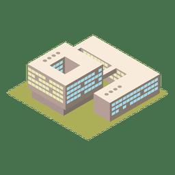 Isometrisches 3D-Gebäude der Universität