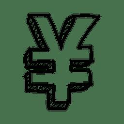 3d yen hand drawn symbol