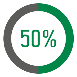 Círculo de progresso de 50 por cento