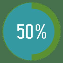 Etiqueta de progreso del 50 por ciento