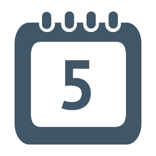 Icono de calendario del quinto día