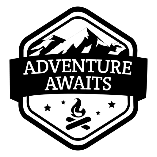 Adventure awaits travel emblem Transparent PNG