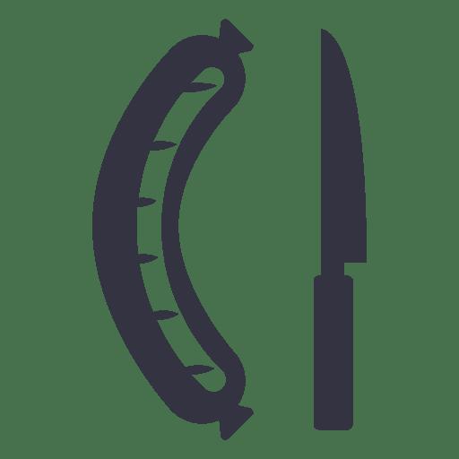 Icono de salchicha y cuchillo