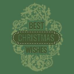 Mis mejores deseos insignia de navidad con adornos.