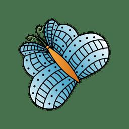 Blaue Linien punktieren Schmetterling