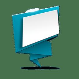 Banner de origami azul espacio en blanco