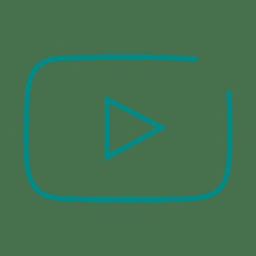 Blue youtube line icon.svg Transparent PNG