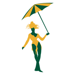 Brazilian woman umbrella silhouette
