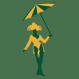 Silueta de mujer brasileña paraguas