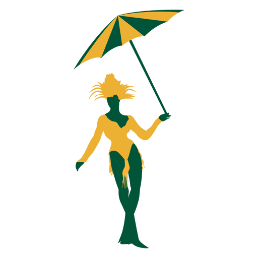 Brazilian woman umbrella silhouette Transparent PNG