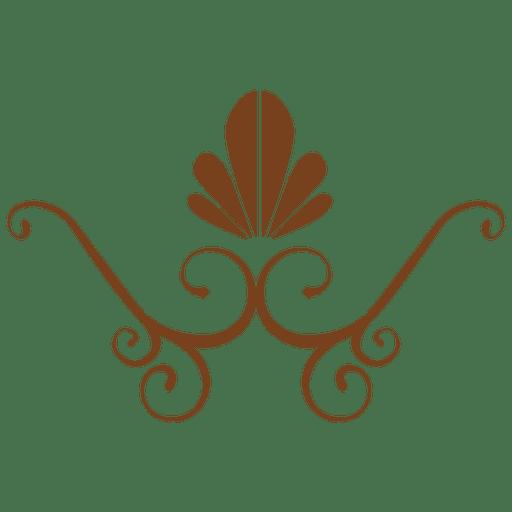 Decoración floral plana marrón Transparent PNG