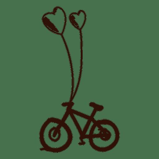Brown hand drawn bike Transparent PNG
