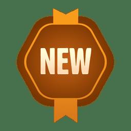 Novo crachá hexagonal marrom