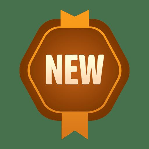 Brown new hexagon badge Transparent PNG