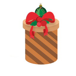 Caixa de presente marrom arredondada