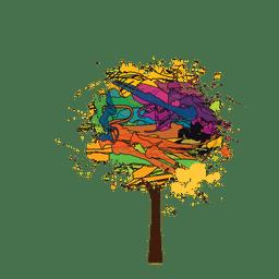 Cepillo de pintura colorido árbol