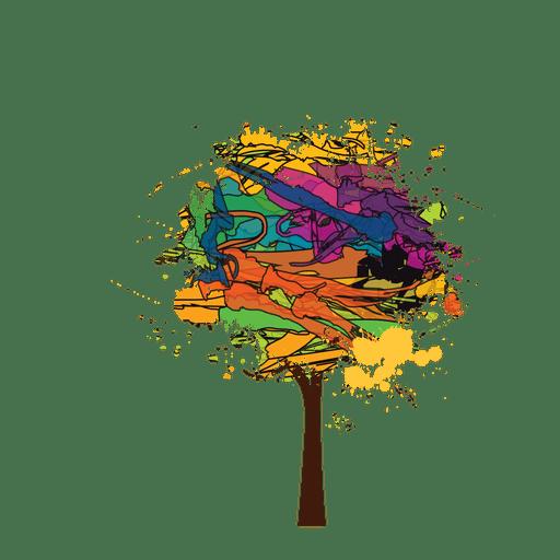 Pincel pintura árbol colorido