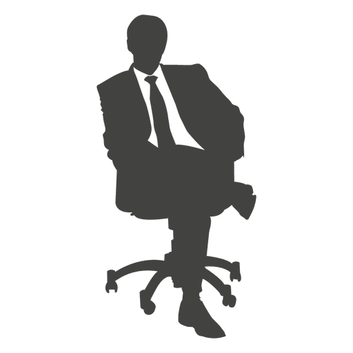 Business executive sitting silhouette - Transparent PNG ...