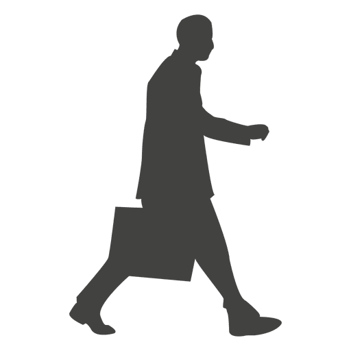 Business executive walking silhouette
