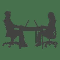Geschäftsleute, die an Laptop arbeiten