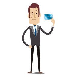 Businessman cartoon holding creditcard