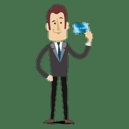 Homem negócios, caricatura, segurando, creditcard
