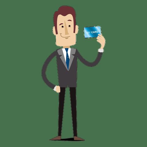 Homem negócios, caricatura, segurando, creditcard Transparent PNG