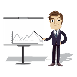 Businessman cartoon presenting chart board