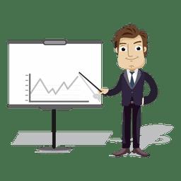 Cartoon de empresário apresentando quadro de gráfico