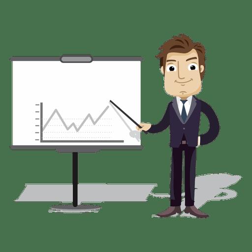 Businessman cartoon presenting board Transparent PNG