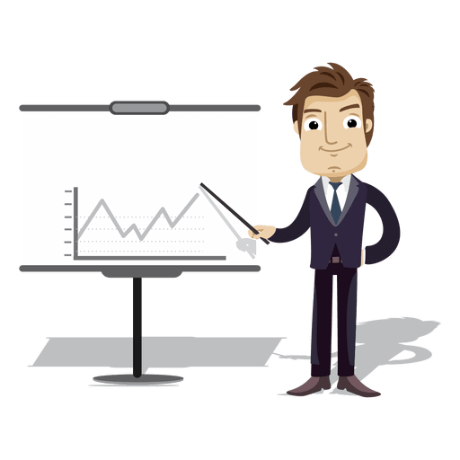 businessman cartoon presenting chart board transparent