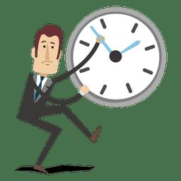 Geschäftsmannkarikatur, die Zeit aufhebt