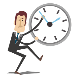 Homem negócios, caricatura, inverter, tempo