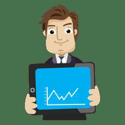 Desenhos animados do empresário mostrando a guia gráfico