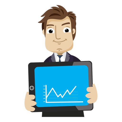 Businessman cartoon showing graph tab Transparent PNG