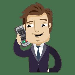 Homem negócios, caricatura, falando, cellphone